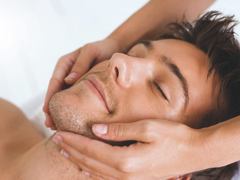 Man having a face massage